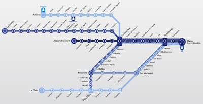Mapa de estaciones del Tren Roca
