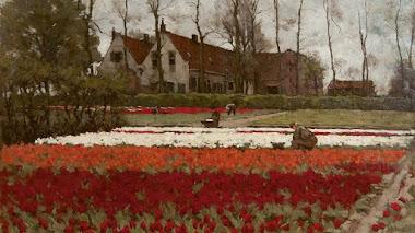 Campos de bulbos en flor pintados por Anton L. Koster