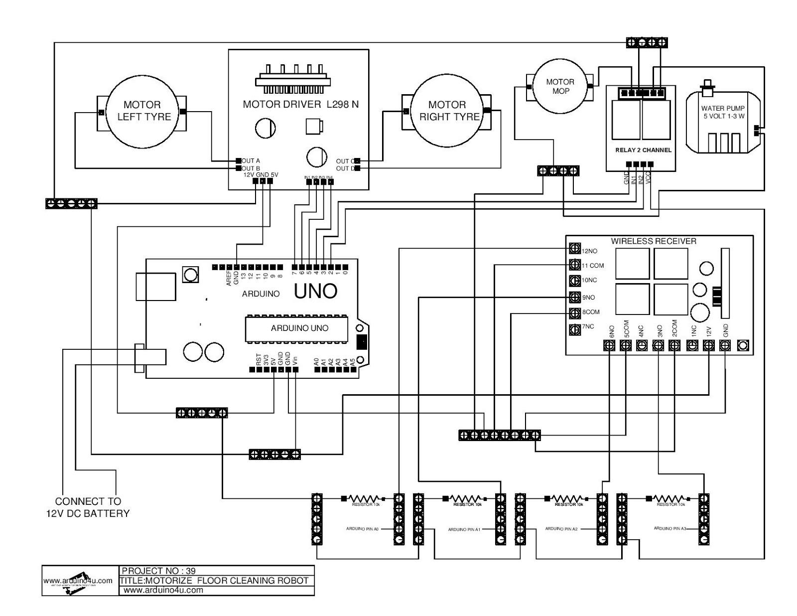 Projek Elektronik Arduino4u 39p Cleaning Robot