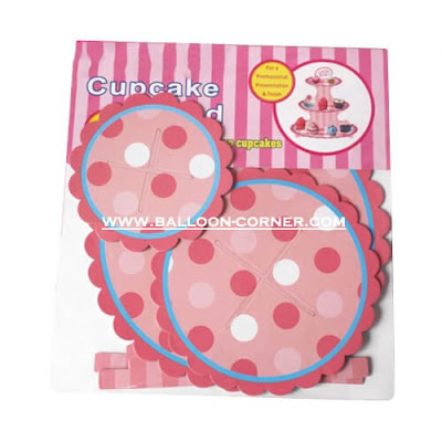 3 Tier Cake Stand Motif Polkadot Pink Putih (SALE PRICE)