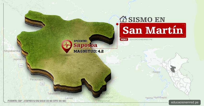 Temblor en San Martín de magnitud 4.2 (Hoy Jueves 6 Septiembre 2018) Sismo EPICENTRO Saposoa - Huallaga - IGP - www.igp.gob.pe