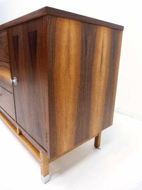 Stanley Mid-Century Walnut Rosewood Inlay Credenza Dresser Right Side