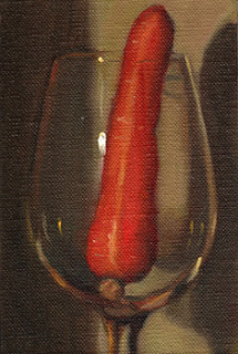 Oil painting of an orange carrot in a wine glass.