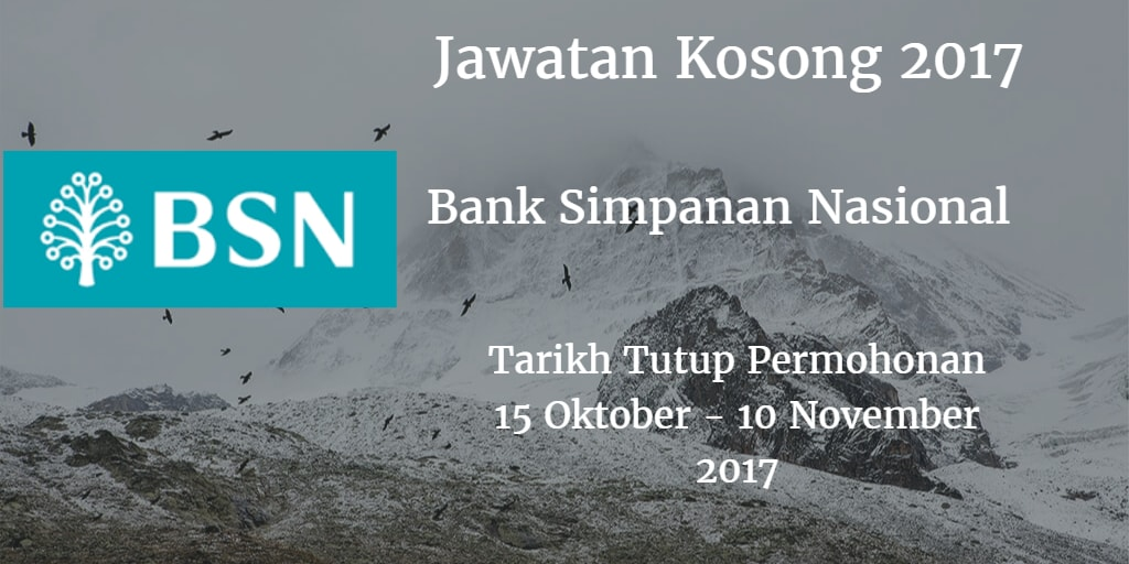 Jawatan Kosong BSN 15 Oktober - 10 November 2017