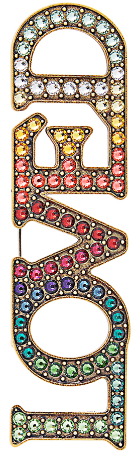 Guccii Loved Crystal-Embellished Brooch