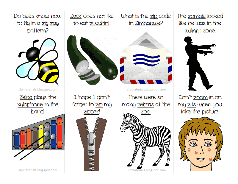 Ms. Lane's SLP Materials: Articulation: Z Sentence Flash Cards ...