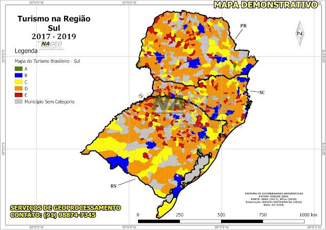 Mapa do Turismo Brasileiro - Reião Sul NAGEO Cartografia (2018).