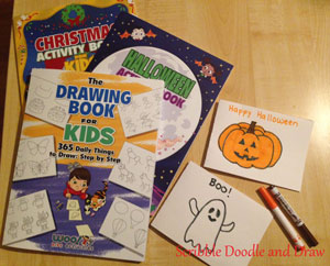 Making Halloween cards with Woo! Jr drawing books