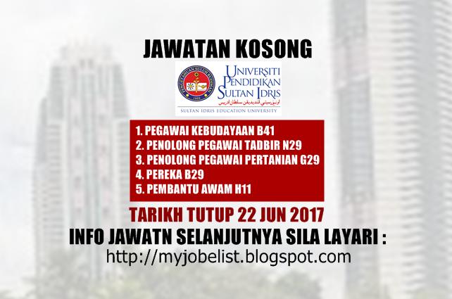 Jawatan Kosong di Universiti Pendidikan Sultan Idris (UPSI) Jun 2017