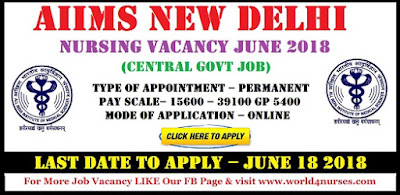 AIIMS New Delhi Nursing Vacancy 2018 (Central govt Job)