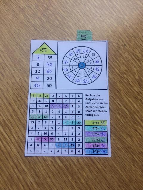 Arbeitsblatt zu 5er-Reihe- Multiplikation Anfangsunterricht