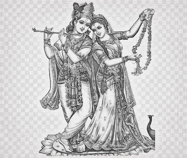 Drawing of Radha Krishna in Pencil