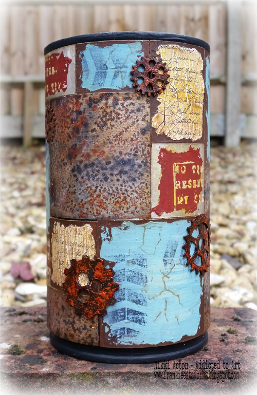 Altered Coffee Tin with Deco Art Media Fluid Acrylics and That's Crafty embellishments - by Nikki Acton