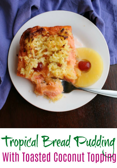 Turn your ideas of bread pudding on it's head with this tropical bread pudding. It is dotted with pineapple and cherries and topped with a caramelized coconut topping. The result is a trip to the islands for your taste buds!