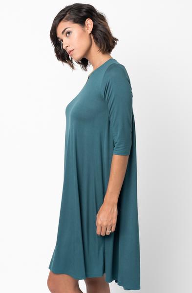 Shop for Hunter green Shirred Back Midi 3/4 sleeve jersey dress crew neck online on caralase.com