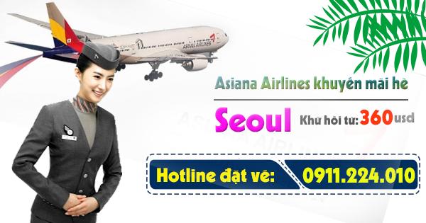 mua vé khuyến mãi hè đi Seoul Hàn Quốc của Asiana Airlines