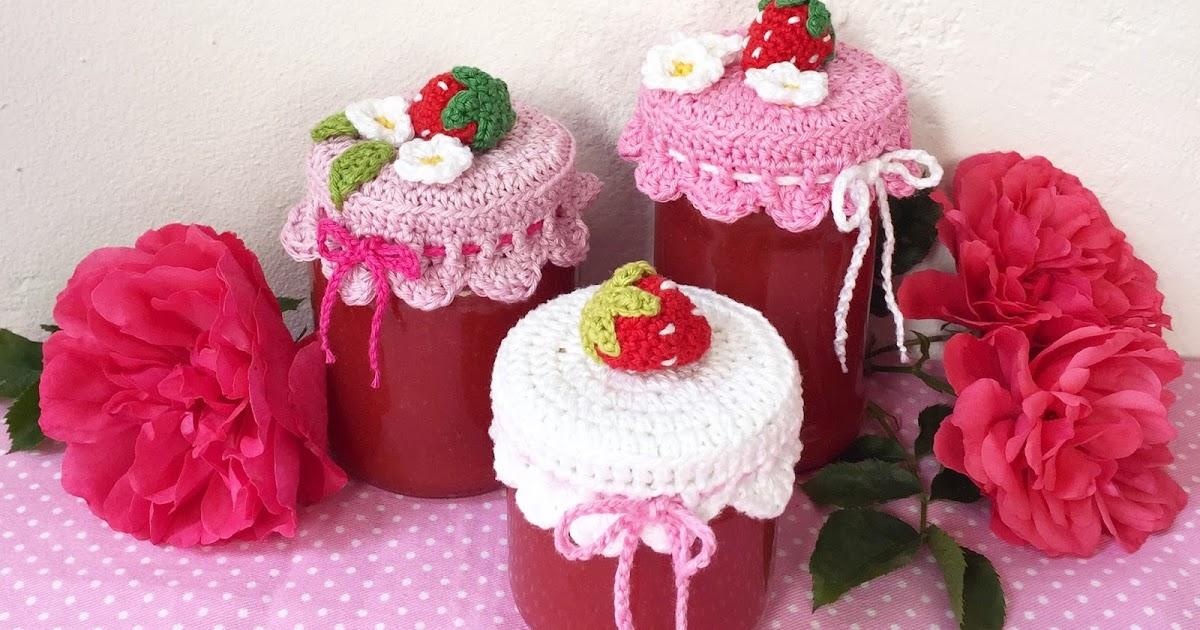 Erdbeerhäubchen Für Marmeladengläser Selber Häkeln Zuckersüße