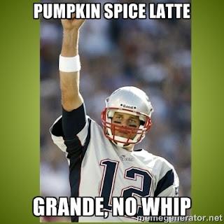 Tom Brady ordering a pumpkin spice latte, grande, no whip.