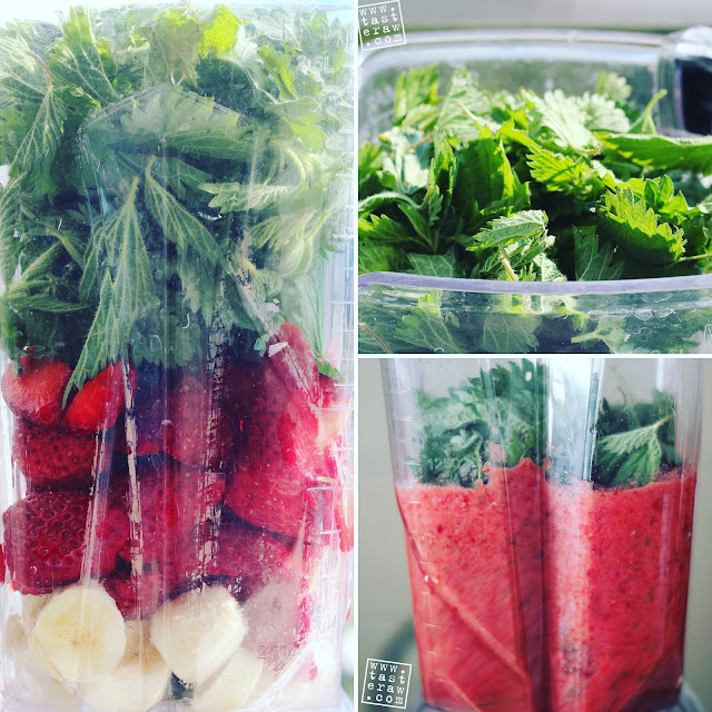raw, presno, smoothie, kopriva, jagode, stinging nettle, strawberies