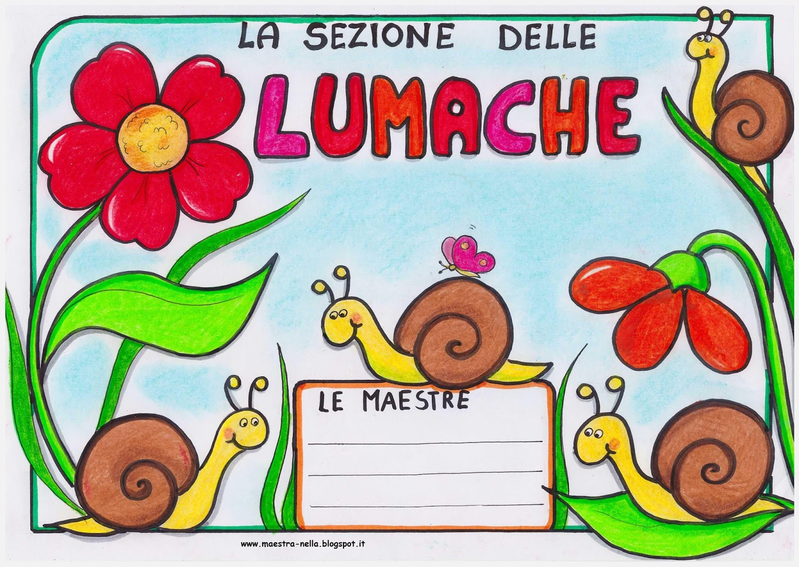 Maestra nella sezione delle libellule delle lumache for Cartelli per la porta dell aula da stampare