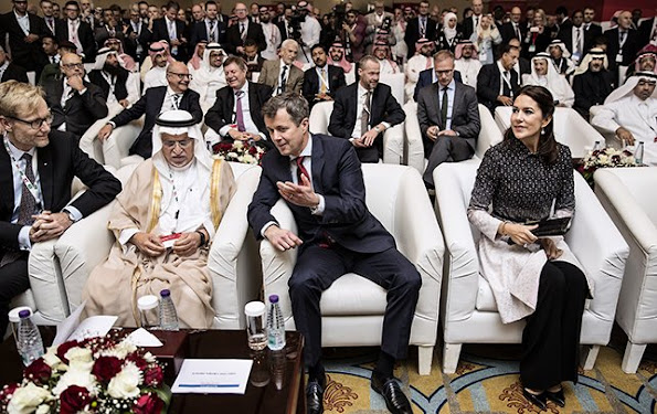 "Crown Princess Mary of Denmark and Crown Prince Frederik of Denmark attended the official opening of ""Denmark-Saudi Arabia Business Forum"" in the capital city of Saudi Arabia, Riyadh. Crown princess Mary wore Missoni coat"
