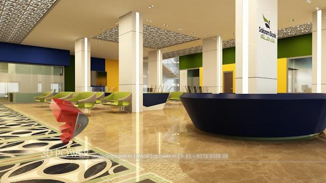 3d bank interior design rendering service provider pune for Interior designing service providers