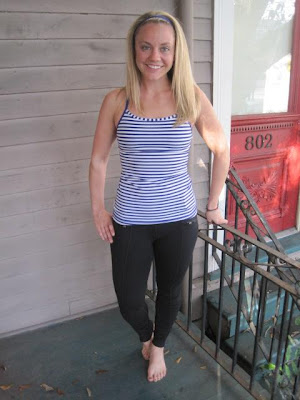 lululemon pigment blue striped power y tank