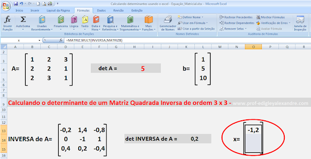 Resolvendo uma equação matricial usando o Excel