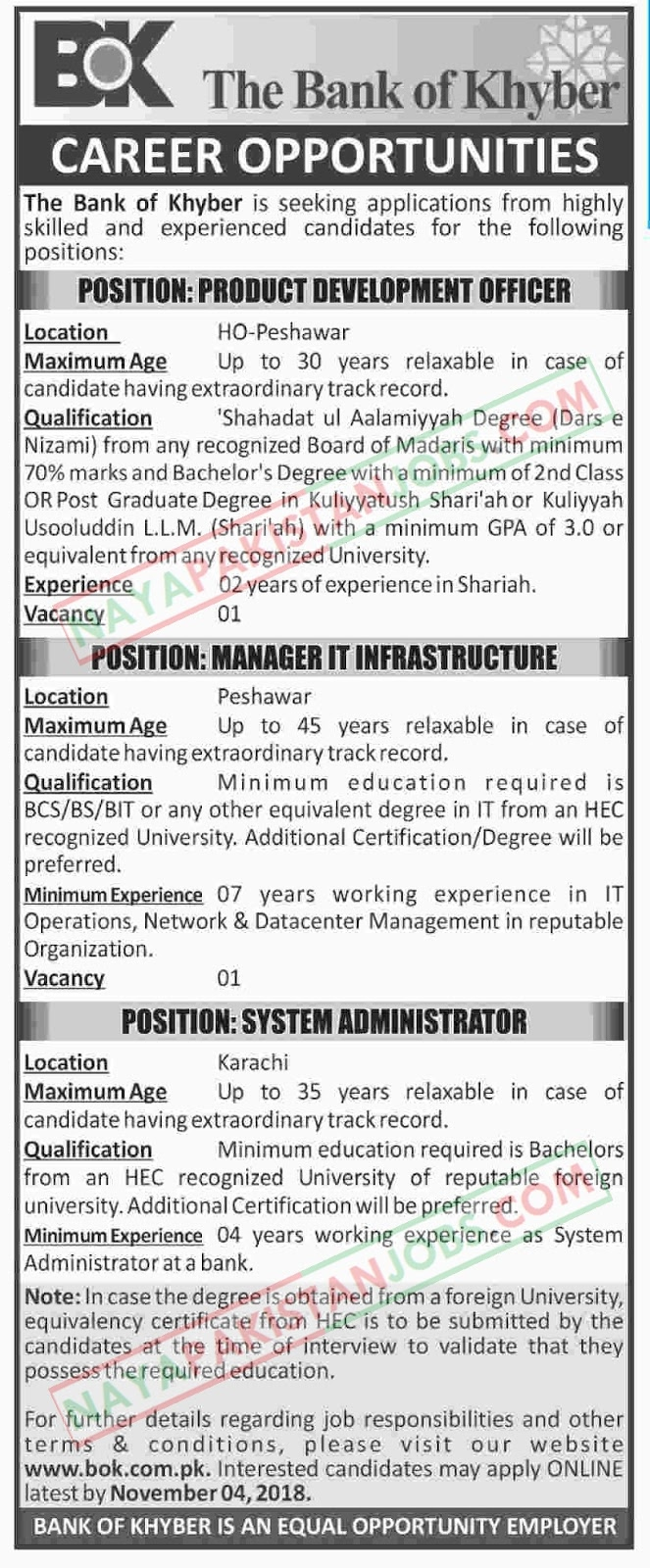 Latest Vacancies Announced in The Bank Of Khyber Jobs 22 October 2018 - Naya Pakistan