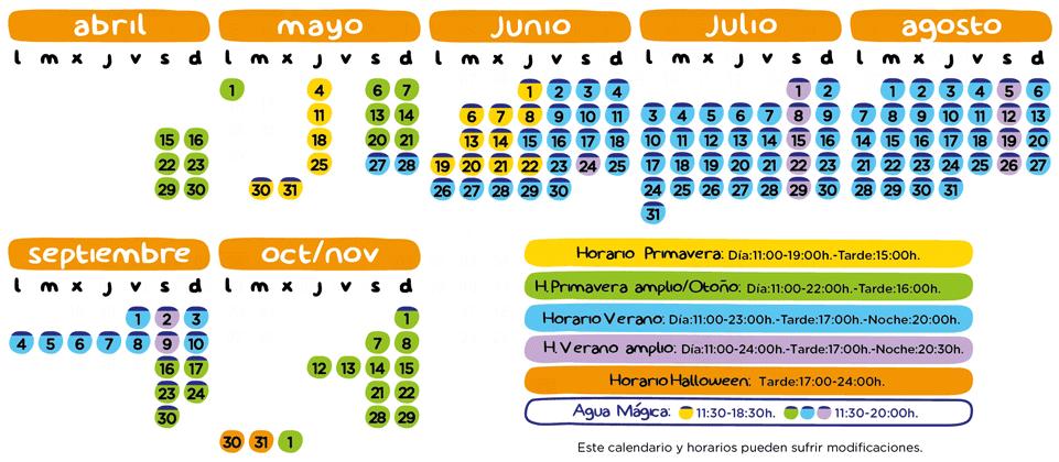Calendario apertura Isla Mágica