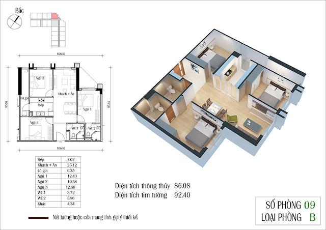 Thiết kế căn hộ 09 tòa CT2 Eco Green City