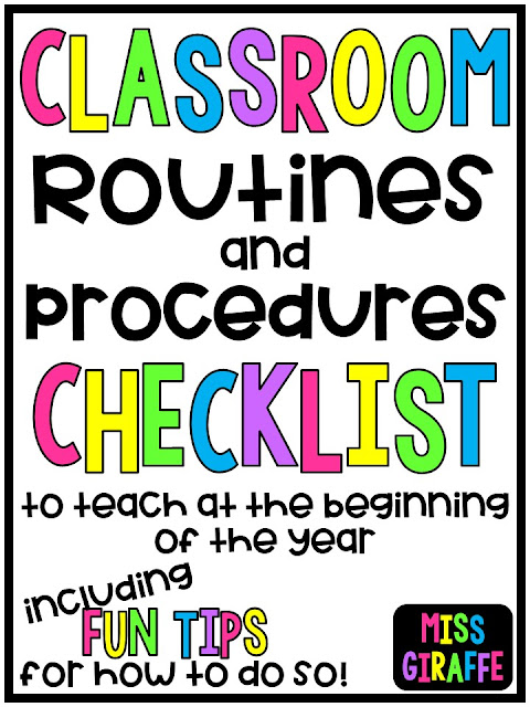Classroom Routines and Procedures Checklist to teach at the beginning of the year including fun tips for how to do so!