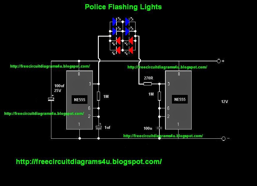 circuit diagrams u v police flashing light circuit the special thing of this circuit is this circuit can be operated 12v power so you can directly attach this circuit your car or truck