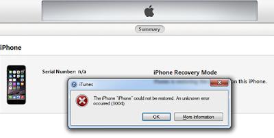 Cara Mengatasi error 3004 saat restore iPhone di itunes