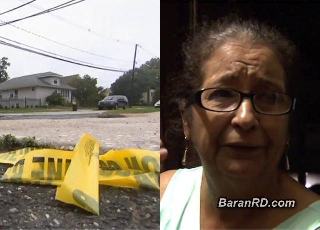 Área donde fue violada la dominicana. A la derecha, su madre, relata parte del hecho.