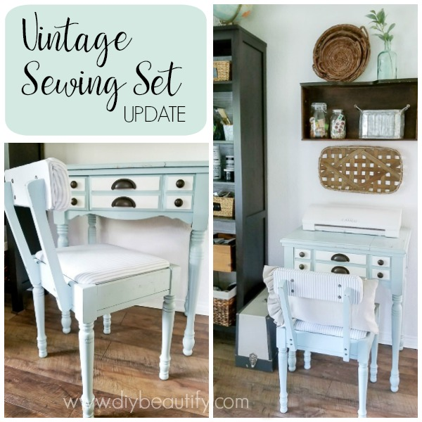 vintage sewing set makeover  |  DIY beautify