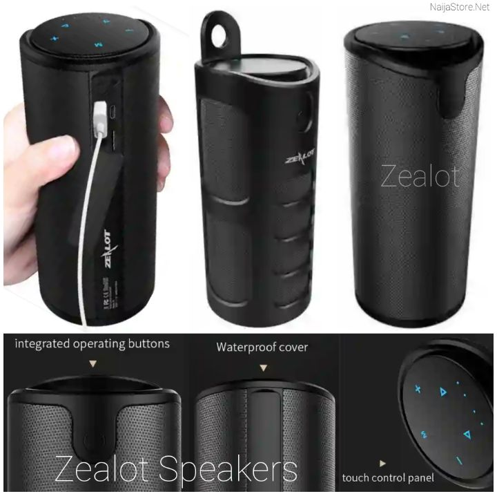 Zealot Speakers: Wireless Bluetooth S8 Sound Box - Cordless Audio Speaker with Touch Control, 4000mAh Power Bank, TF Card/AUX/USB