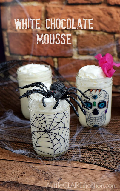 white chocolate mousse halloween in a jar