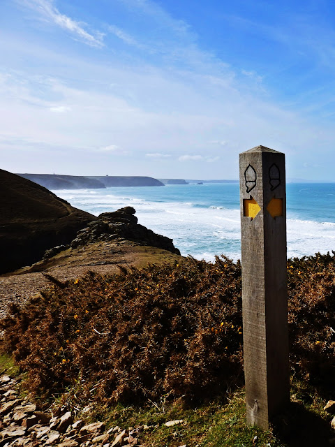 Cornish coastal path sign or marker
