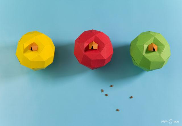 Papierskulptur Apfel