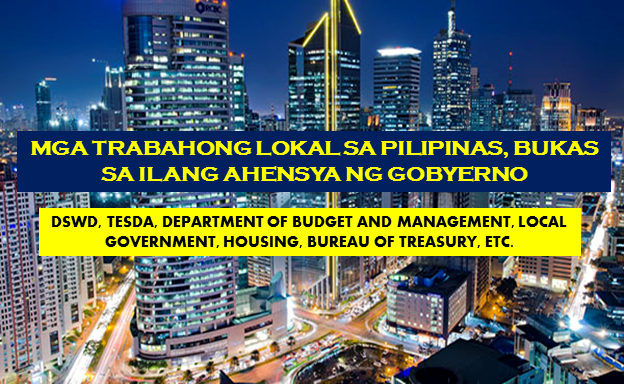 "Are you looking for a government jobs in the Philippines? The following are job vacancies for you. If you are interested, you may contact the employer/agency listed below to inquire further or to apply.  ""ADVERTISEMENTS""    JOB VACANCIES  1. COMPANY NURSE (GOVERNMENT) LBP Service Corporation (Recruitment Firm) Min 1 year (1-4 Yrs Experienced Employee) Address : Philippines - National Capital Reg - Manila City - Roxas Blvd.  2. GOVERNMENT LIAISON OFFICER Shang Properties Inc. Min 5 years (Supervisor/5 Yrs & Up Experienced Employee) Philippines - National Capital Reg - Mandaluyong Website: http://www.shangproperties.com/ Telephone No.: (632)370 2700 WORK LOCATION Address: Shaw Boulevard, Mandaluyong City, Philippines  3. CERTIFIED PUBLIC ACCOUNTANT (GOVERNMENT) LBP Service Corporation (Recruitment Firm) Less than 1 year experience Address: Philippines - National Capital Reg - Malate, Manila  4. BANK TELLER III (TUGUEGARAO - REGIONAL GOVERNMENT CENTER) Development Bank of the Philippines Min 1 year (1-4 Yrs Experienced Employee) Website: http://www.devbnkphl.com Telephone No.: 63-2-8189511 WORK LOCATION Address: 4/F Human Resource Mgmt., Development Bank of the Philippines Bldg. Sen Gil Puyat Ave. corner Makati Ave., Makati  5. ADMIN ASSISTANT (GOVERNMENT) LBP Service Corporation (Recruitment Firm) PHP 11,000 - PHP 12,000 Less than 1 year experience Address: Philippines - National Capital Reg - Malate, Manila  6. TREASURY OPERATIONS OFFICER IV - (NATIONAL GOVERNMENT DEBT ACCOUNTING DIVISION) Bureau of the Treasury Min 2 years (1-4 Yrs Experienced Employee) Website: http://www.treasury.gov.ph/ Telephone No.: 2-5280892 