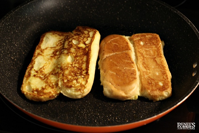 Hot dog Bun French Toast in pan