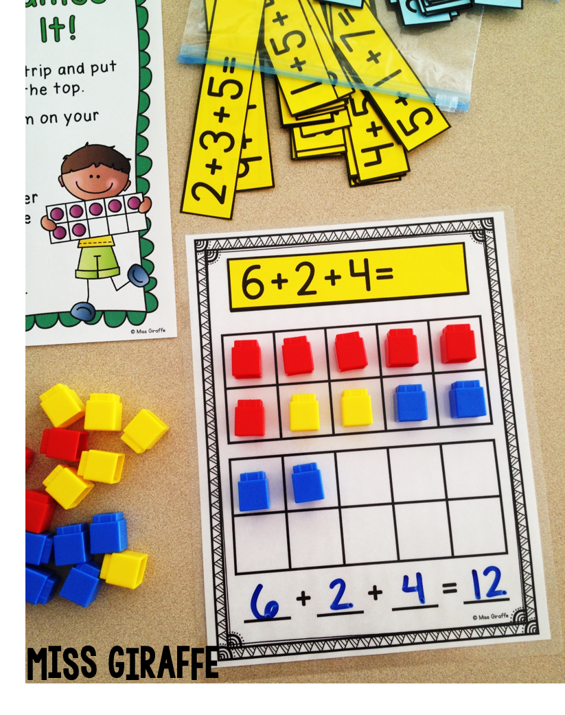 Best math games and math centers for teaching adding 3 numbers
