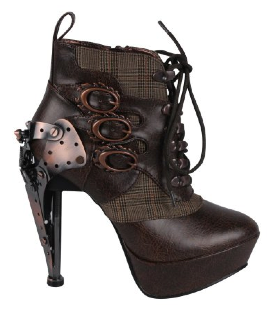 These women's steampunk oxford ankle boots are made by Hades. They come in brown or black.