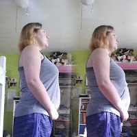 On the left, I am standing up straight, on the right, I'm slouching like I normally do.