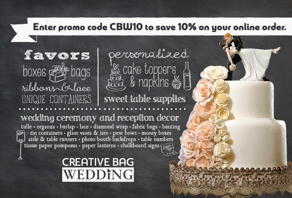 use promo code cbw10 to save 10% online at creativebagwedding.com
