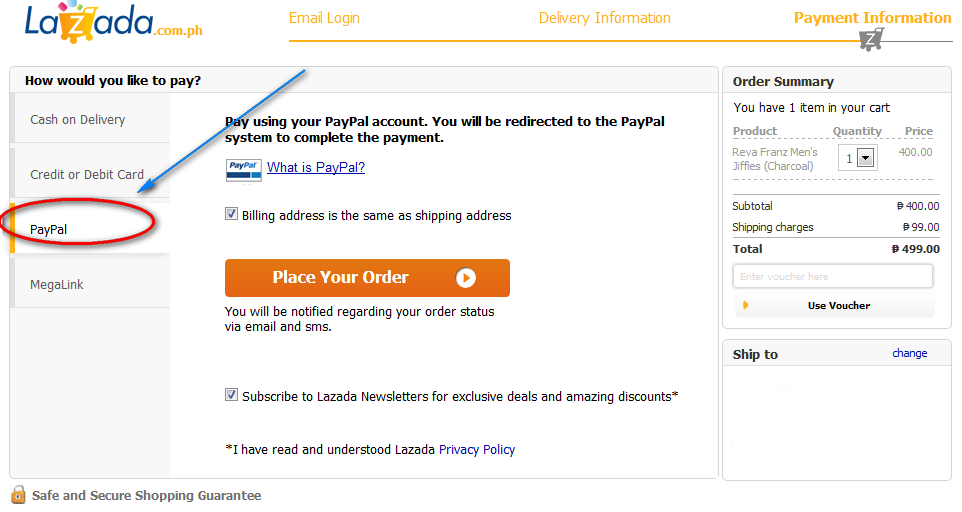 How to Pay your Order in Lazada using Paypal