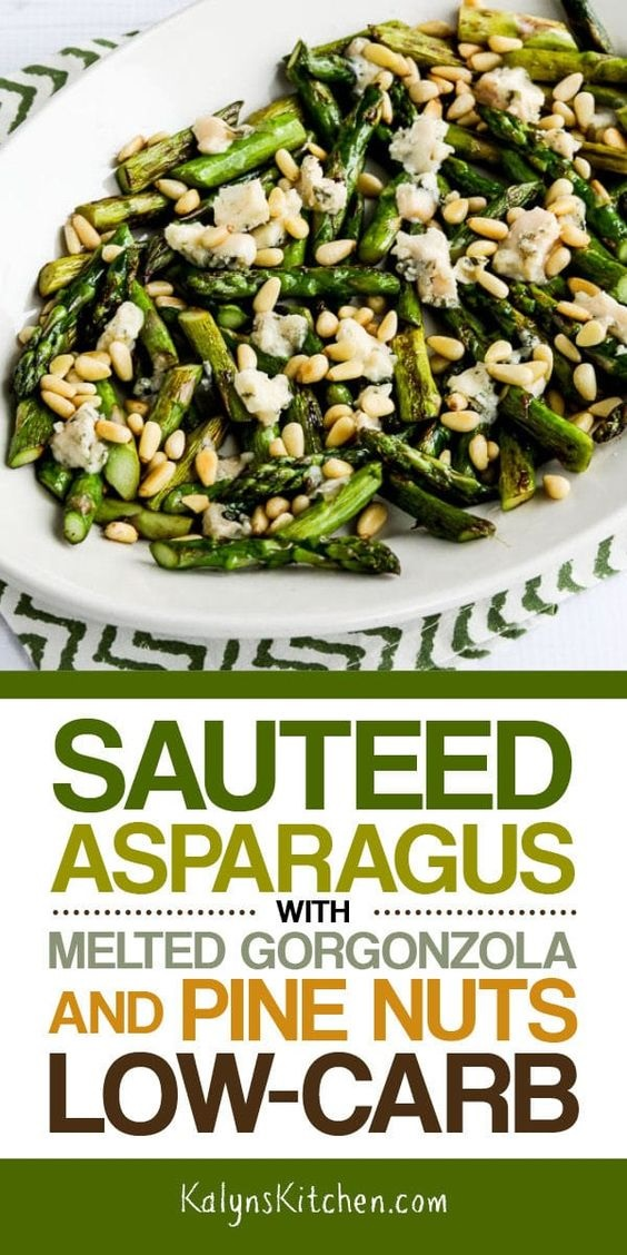 Sauteed Asparagus With Melted Gorgonzola And Pine Nuts