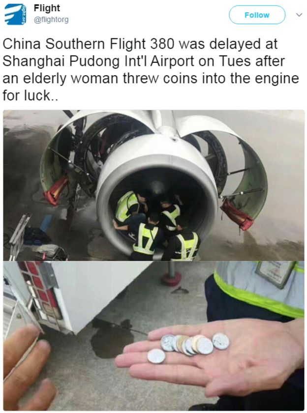 Coins thrown into plane engine by elderly passenger for 'luck'
