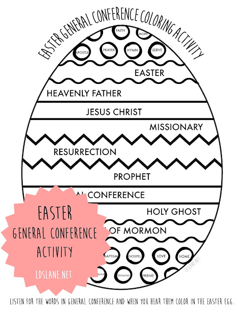 LDS General Conference activity pages with an Easter theme - ldslane.net